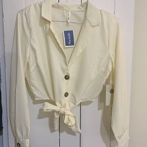 Cropped Cream Button-up Blouse